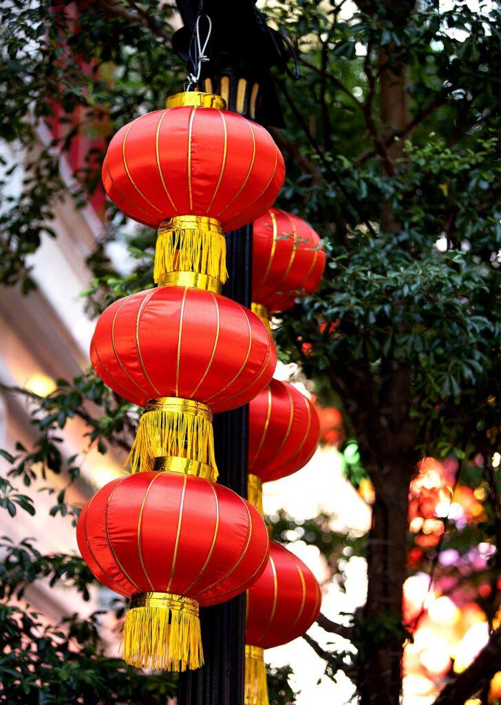 Red lanterns hanging in a tree