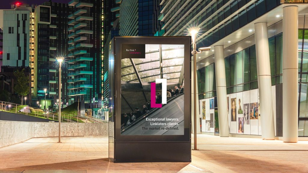 A poster at nighttime advertising Linklaters Re:link flexible resourcing programme.