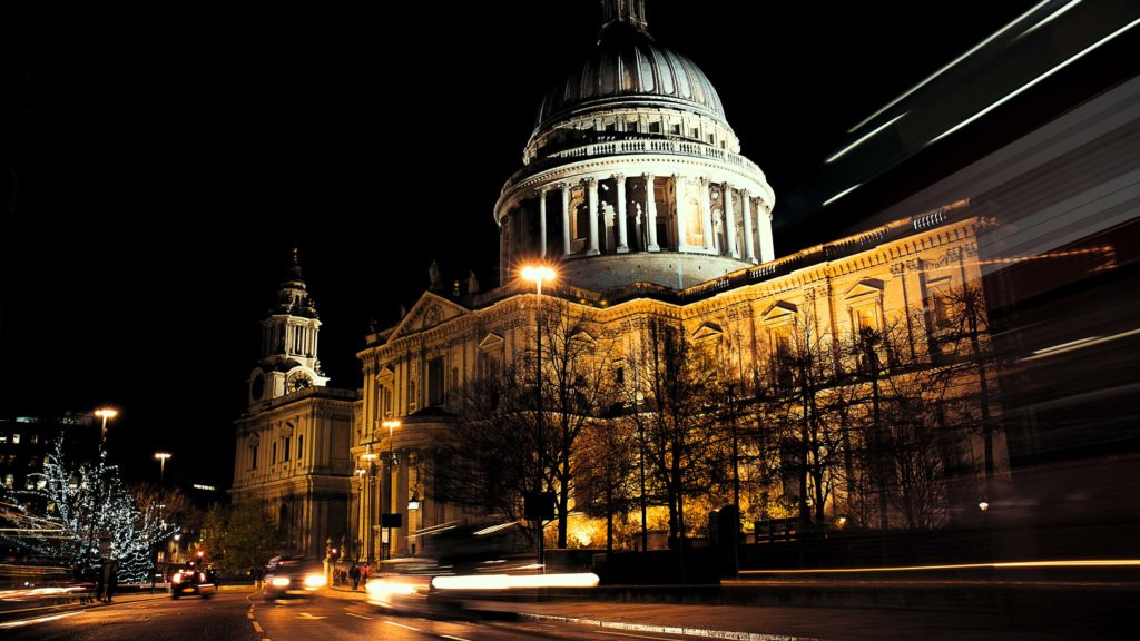 Long exposure night time photograph of St. Paul's Cathedral in London