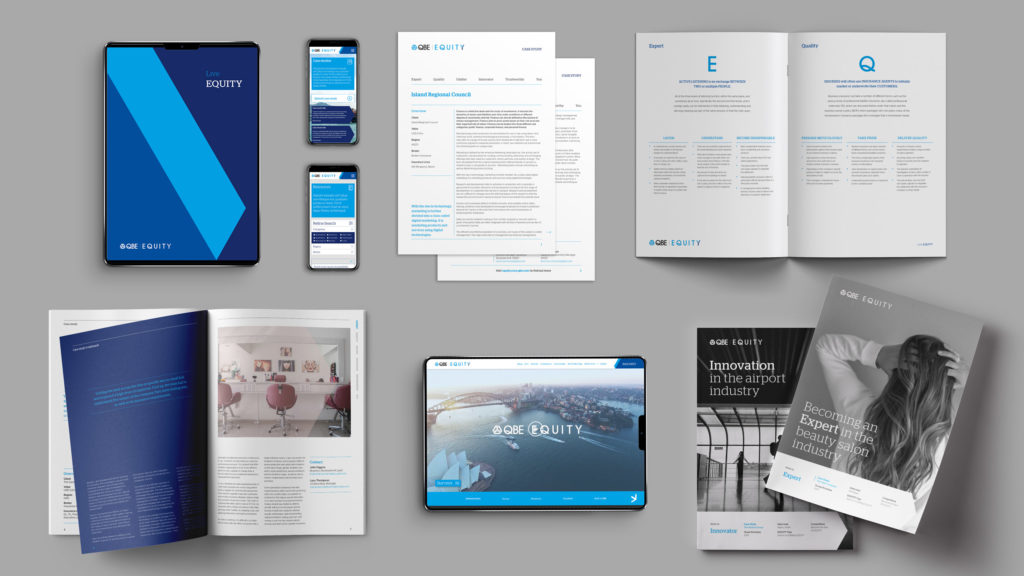 Design collateral from QBE's customer commitment campaign.