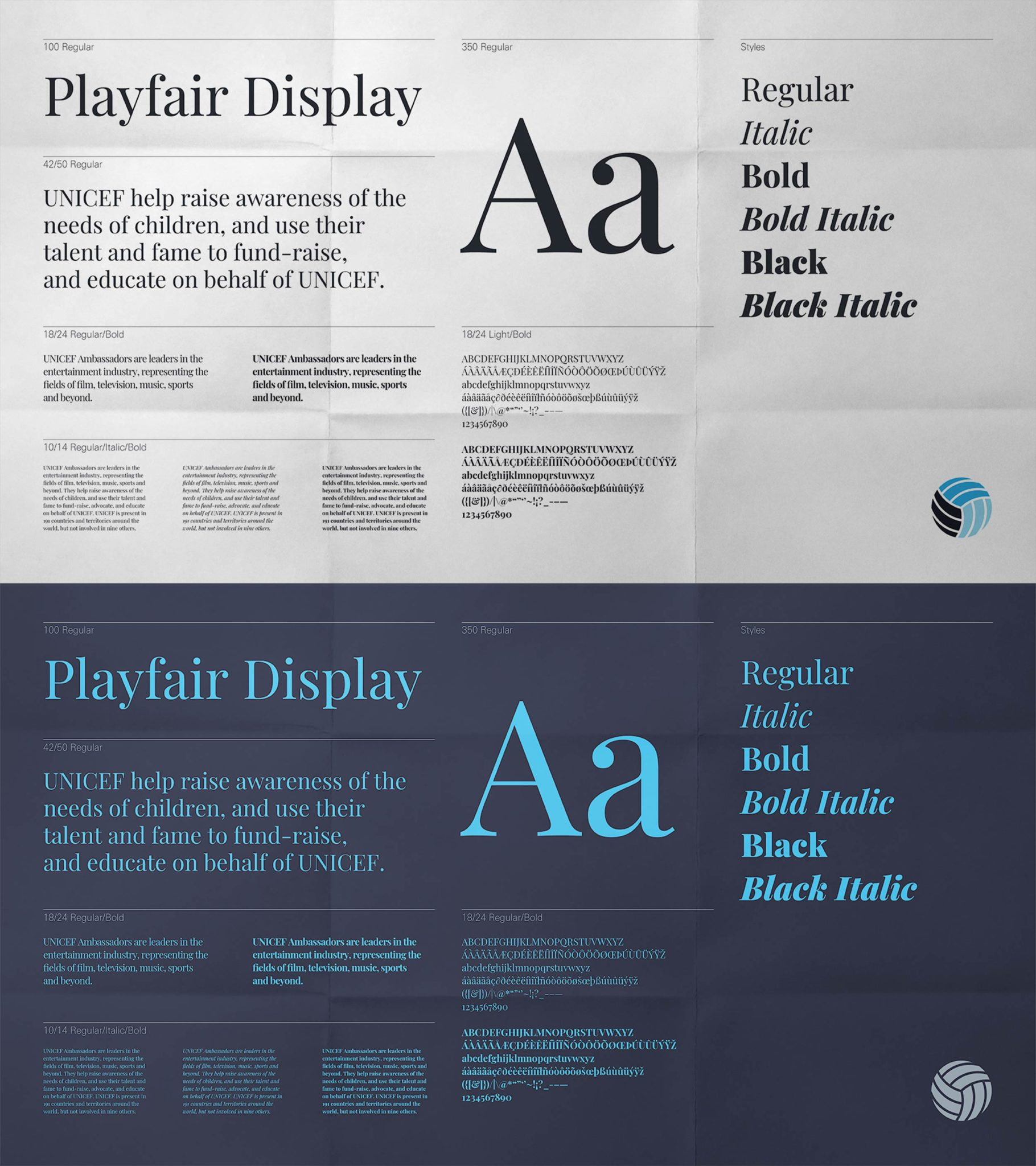 Showcasing the typography used for the branding