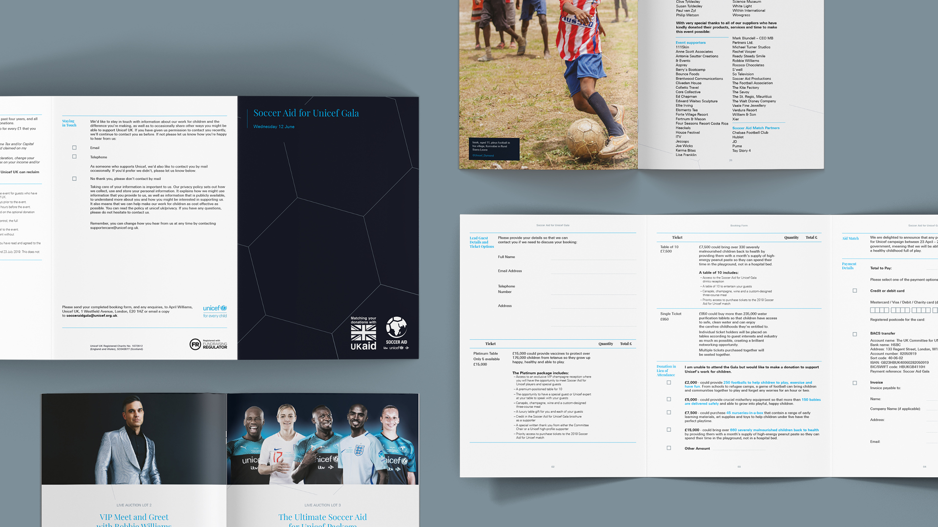 A range of Unicef Soccer Aid branded documents