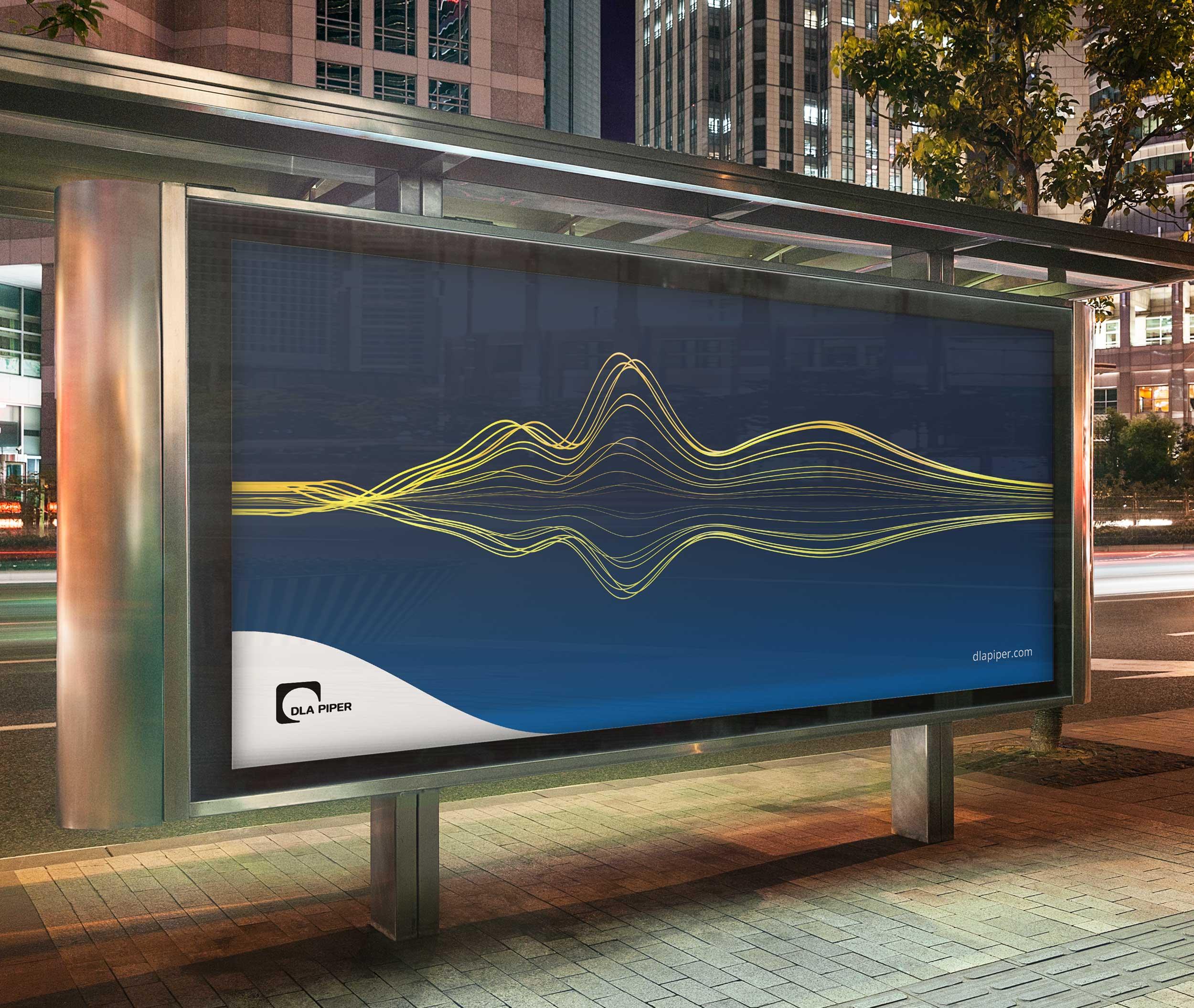 A billboard advertisement showing a DLA Piper string sculpture