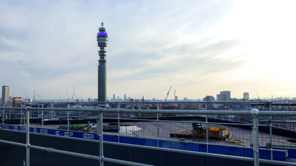 A view from the roof of Triton Square, overlooking the London skyline and the BT Tower.