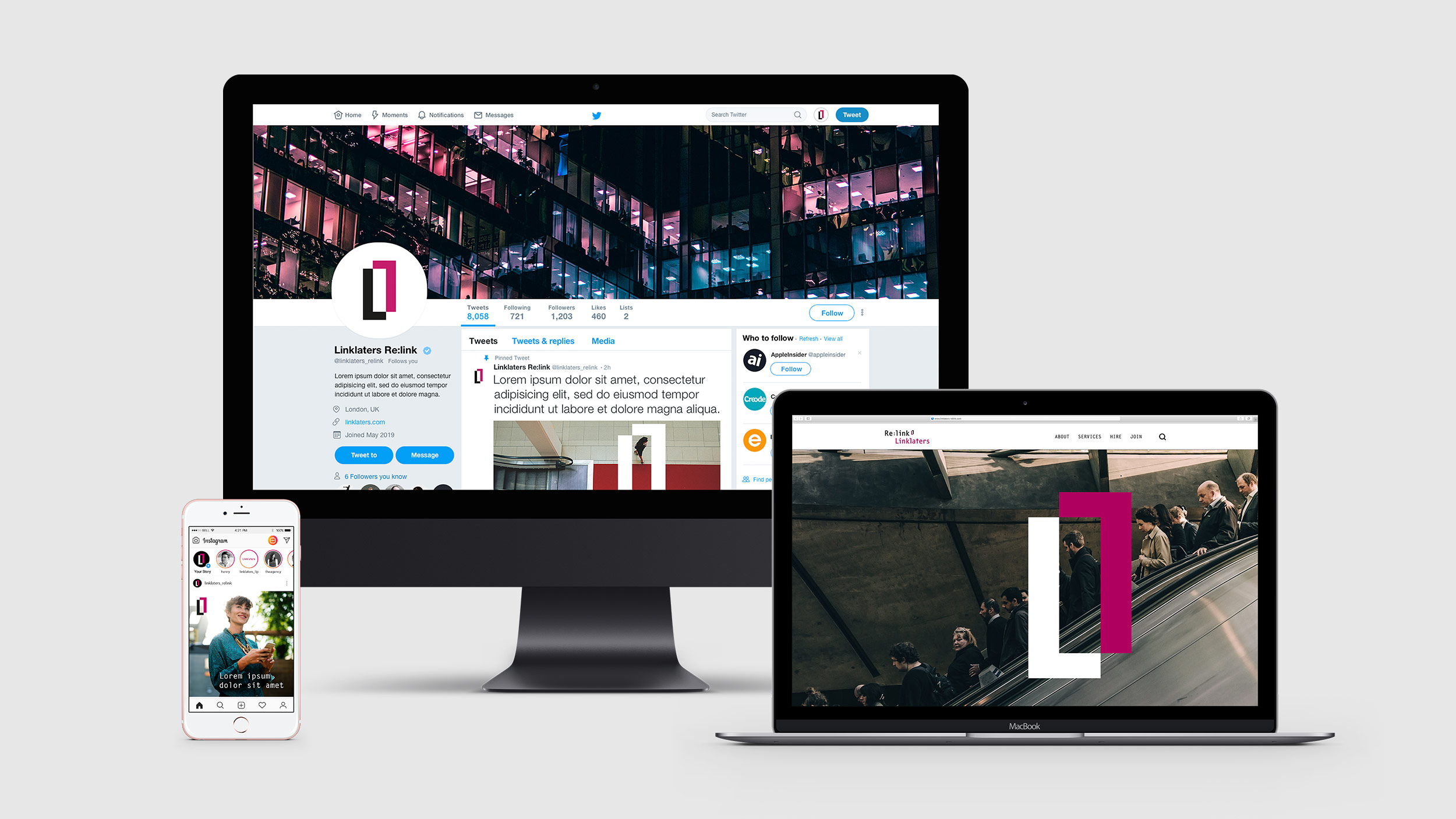 Linklaters Re:link website, twitter account and instagram