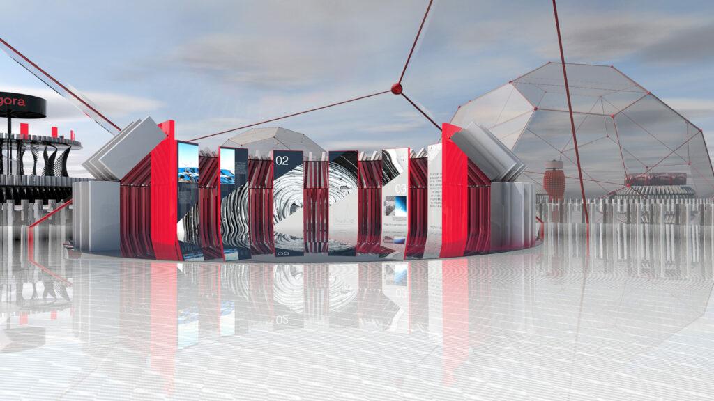 An exhibition stand in the Enter Agora virtual event environment.