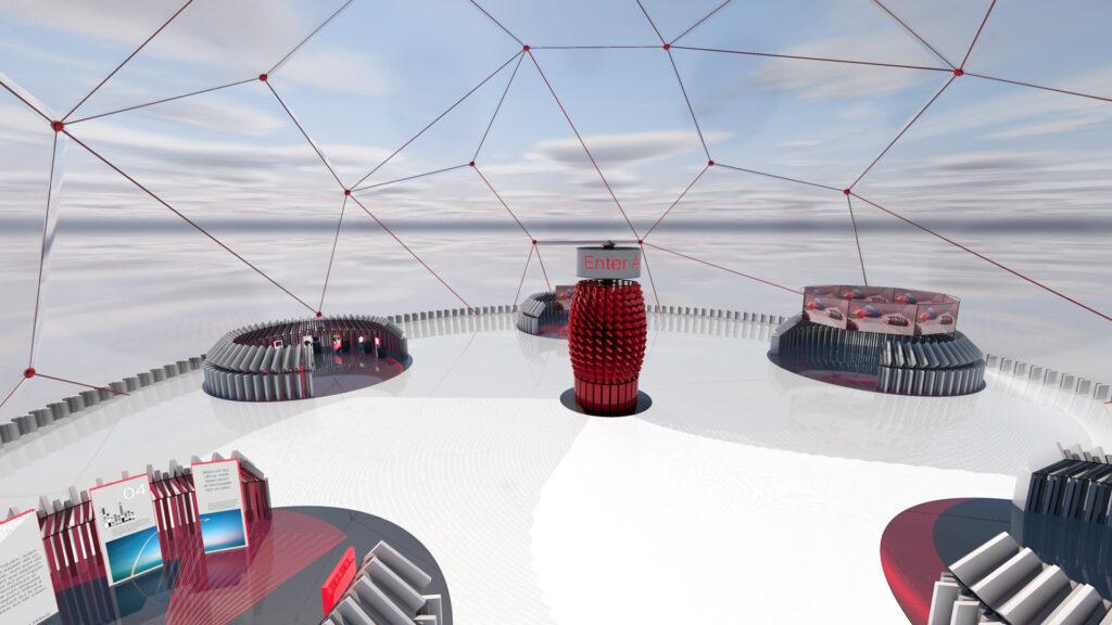 An virtual exhibition stand pod in the Enter Agora environment.